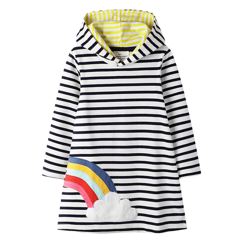 <strong>Fashion</strong> <strong>kids</strong> casual clothes cotton <strong>girl</strong> long sleeve pattern stripe hooded dresses