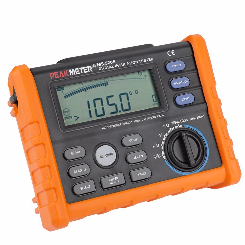 Multimetre ile analog ekran 2500V dijital İzolasyon direnç test aleti Megger 100G Ohm MS5205