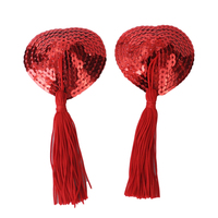 Sexy Heart-shaped Nipple Cover Self Adhesive Lingerie Sequin Tassel Nipple Cover Breast Pasties with Tassel