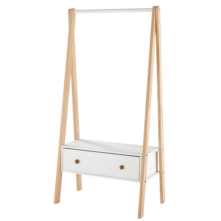 High Quality Natural bamboo cloth rack with two drawers in bedroom