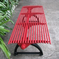 Round pipe and cast iron outdoor metal garden bench seat without backrest