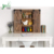 Rustic Brown Color Wall Mounted Wood Cabinet 3 Storage Shelves Design Living Room