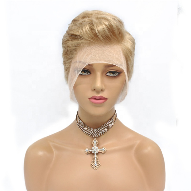 Pixie Cut Short Bob Straight Hair Natural color #613 Color Human Hair Full Lace Wig or Lace Front Wig