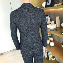 Мужской твид 2020 английский мужской черный серый осенне-зимний Свадебный костюм мужской полный комплект платье(Китай)