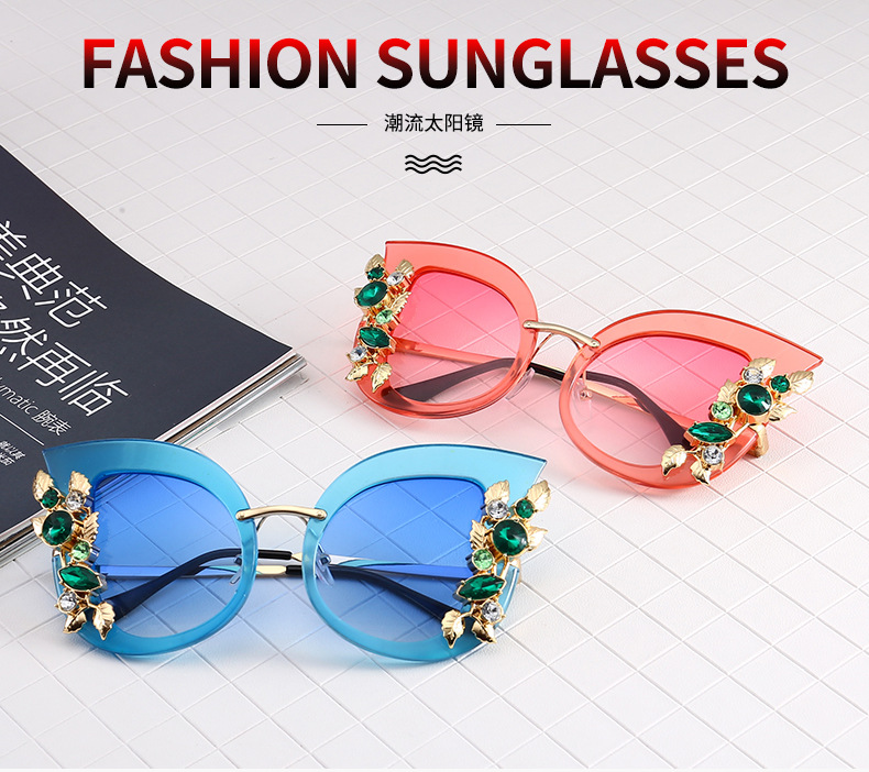 sunglasses fashion Diamond Round Sunglasses Women Luxury sunglasses
