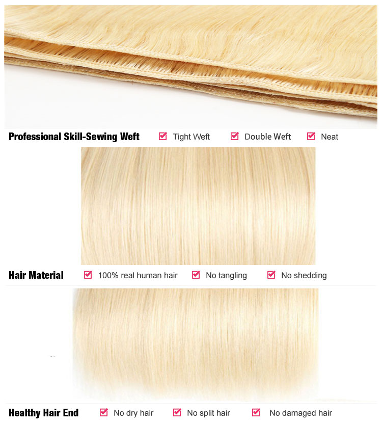 Bellaqueen Peruvian Straight Hair 100% Human Hair Extensions 613 Color Remy Hair Weaving 613 Blonde Bundles