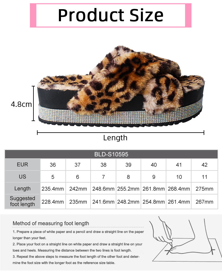 Cross Black Sandals Female High Heel Colorful Fur Platform Slippers For Women