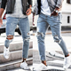 In stock casual mens jeans light blue wash knee hole mens denim trouser slim fit stretchy destoryed jeans ripped skinny jeans