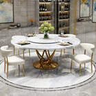 Marble postmodern light luxury round dining table with turntable home small apartment Nordic dining table combination