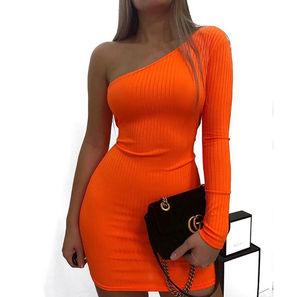 Summer fashion boutique women clothing one shoulder long sleeve neon dresses