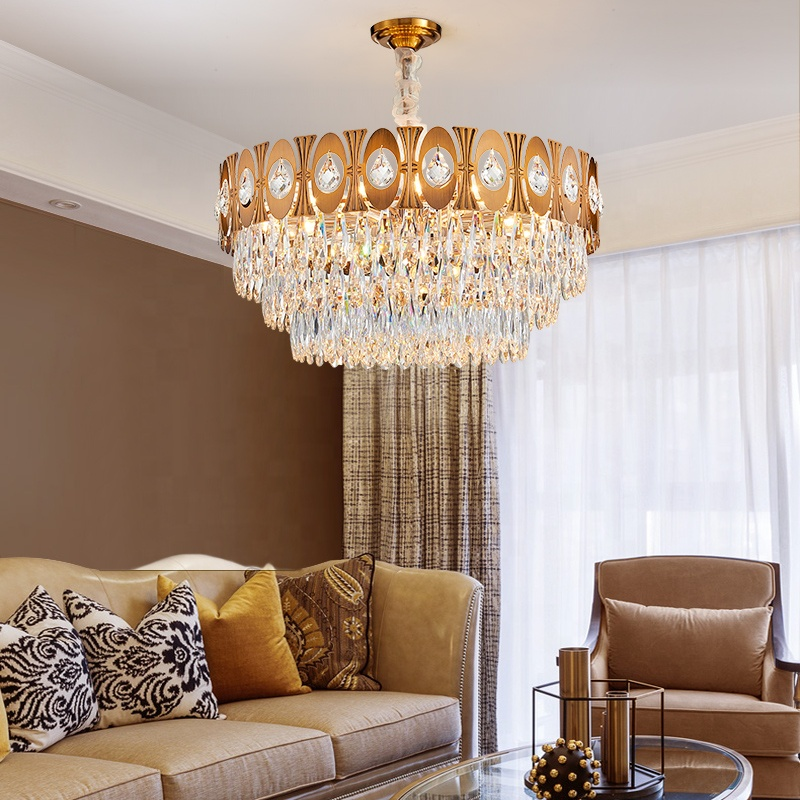 Hot selling European Modern Hotel home luxury gold round contemporary designer big pendant light LED chandelier