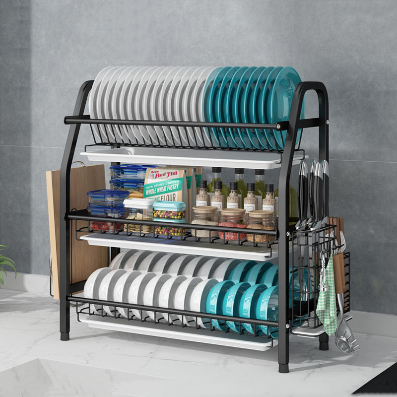 304 stainless steel 3 layer drainage kitchen dish drying rack with cutlery knife rack