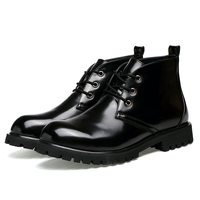 Wholesale high quality cow leather upper custom LOGO ankle men boots shoes for casual