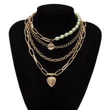 Готическое многослойное ожерелье в стиле барокко с жемчугом, массивная цепочка, чокер с подвеской в форме сердца золотого цвета, колье для п...(Китай)