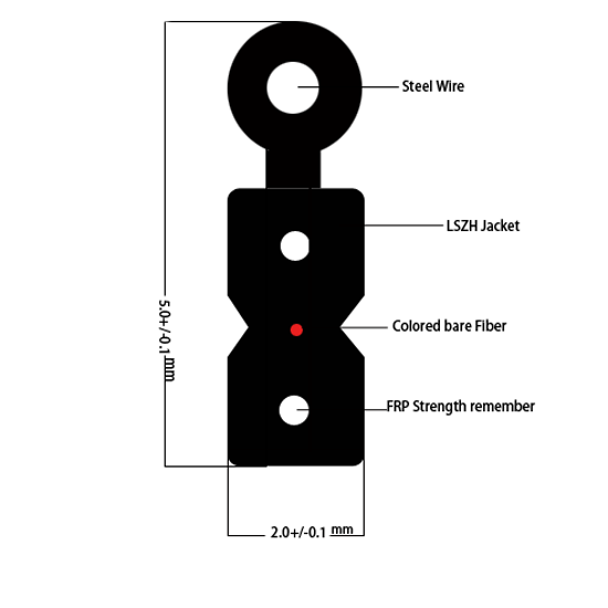 FTTH açık fiber optik saplama kablo düz tip tek modlu damla fiber optik kablo G657A1 LSZH