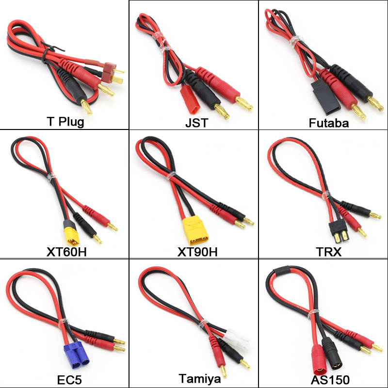 Amass 4mm Banana Plug to Male XT90 XT60 EC5 TRX JST Tamiya Connector Charger Adapter Cable 14AWG 30cm For RC IMAX B6 Charger