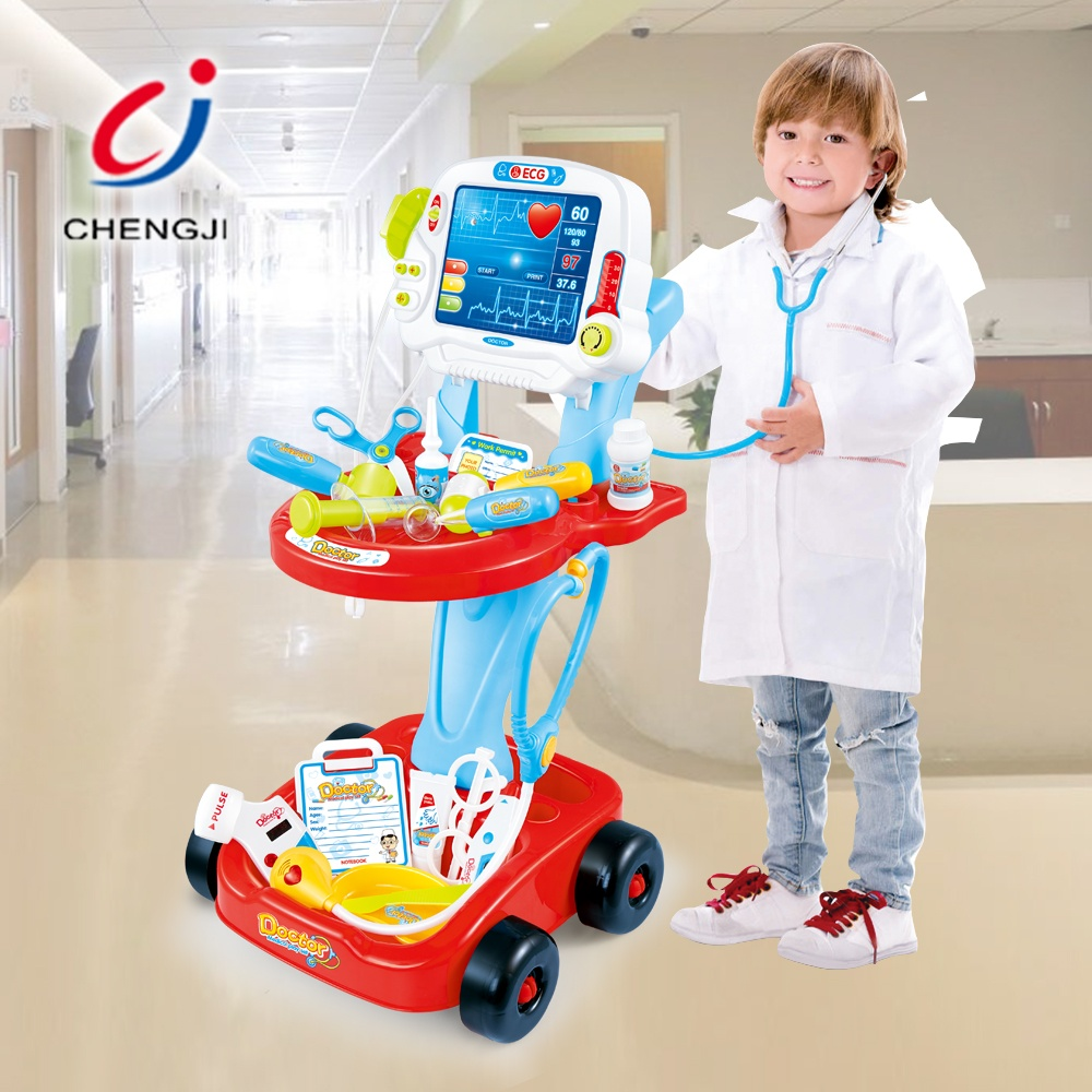 New music toy plastic medical kit set trolley doctor pretend play for kid 17pcs