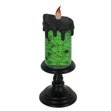 Party decor Vlamloze <span class=keywords><strong>Halloween</strong></span> <span class=keywords><strong>Kaars</strong></span> Vormige Plastic Led glinsterende water Spinning snowglobe