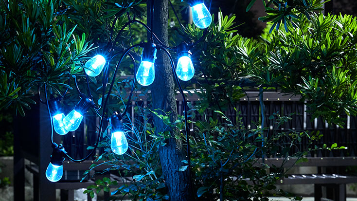 High quality RGB LED Outdoor Festoon String Lights Commercial Grade Weatherproof Strand with Remote For Garden, Party, Bar