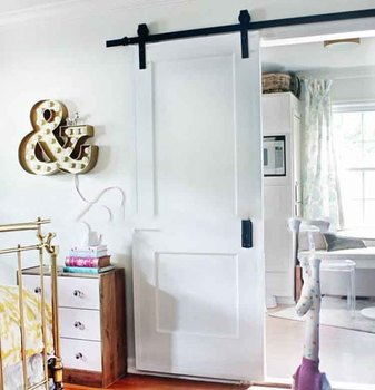 Two Panels Pure White Middle Rail Brace Interior Sliding Barn Door For Living Room With Hardware Panel