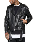 Super Cool Faux Leather Mens Biker Jacket Tailored Collar 100% Polyurethane Motor Jacket with inside chest Pocket