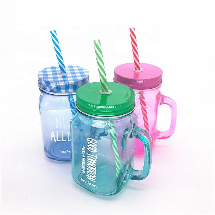 500ml wholesale 16oz glass mason jars with straw lid jars glass mason