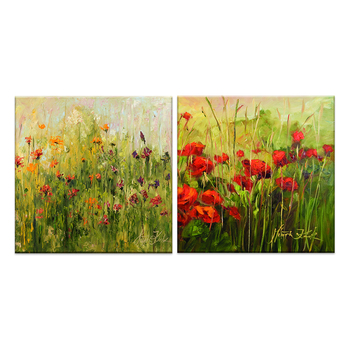 Beautiful scenery red blooming modern flower field painting ready to hang
