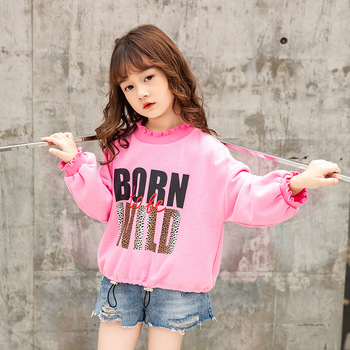 2019 autumn and winter new letter printing sweater tide Fan cotton girls sweaters loaded children's clothing