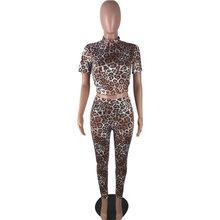 Сексуальный леопардовый комплект из 2 предметов, модная одежда, короткий рукав, топ и штаны, спортивные костюмы, осенние наряды для женщин 2020()