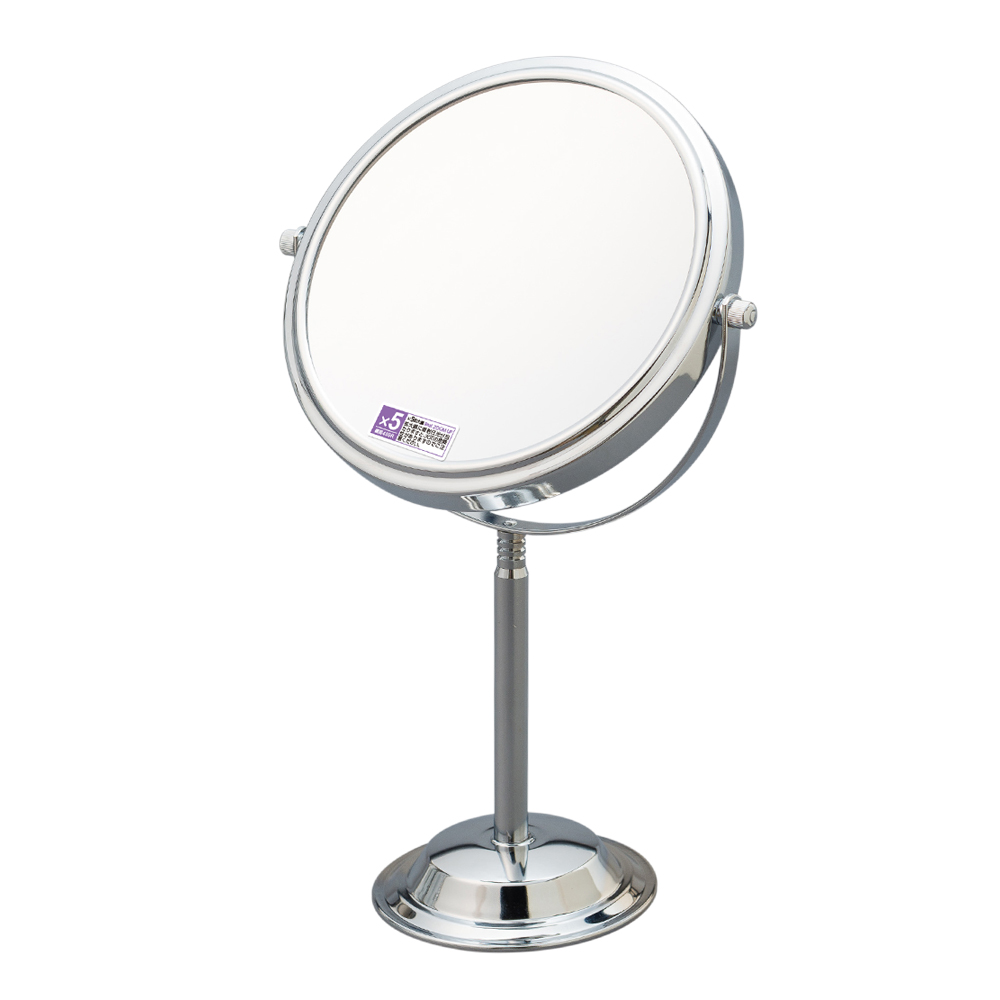 Desktop round magnification makeup stand up mirrors wholesale with 5x magnifier