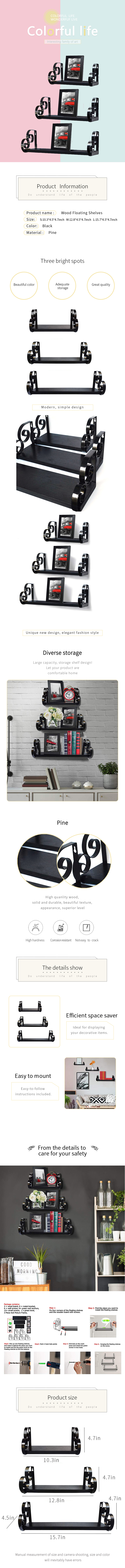 Set of 3 Floating Shelves Wall Mounted Decorative Wood Shelf for Home Decoration