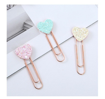 Creative cute sequins love heart shape office school paper clip bookmarks stationery supplies 2pcs/pack