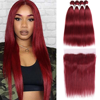 Kemy Factory Burgundy Pre-Colored 100% Virgin Human Hair Vendors 10A Hair Bundles With Closure Brazilian Human Hair Extension