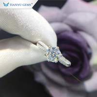 Tianyu gems trends jewelry wholesale 925 silver 18k gold plated 1.0 ct moissanite wedding ring for women