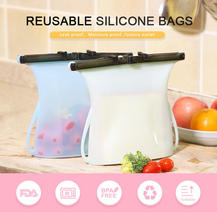 Wholesale Silicon Reusable Fresh Sealed Storage Silicone Food Bag
