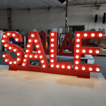 Custom Made Decorative Metal Light Up Event Led Bulb Giant Marquee Letter Lights Sign