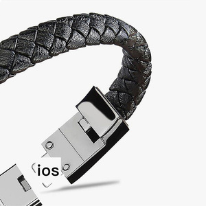 Free Shipping Leather Short USB Bracelet Charger Data Cable For iphone Type c Micro USB Fast charging Cable