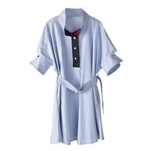 Женское платье-рубашка EAM, синее платье-рубашка с воротником-стойкой и коротким рукавом, 2019(Китай)