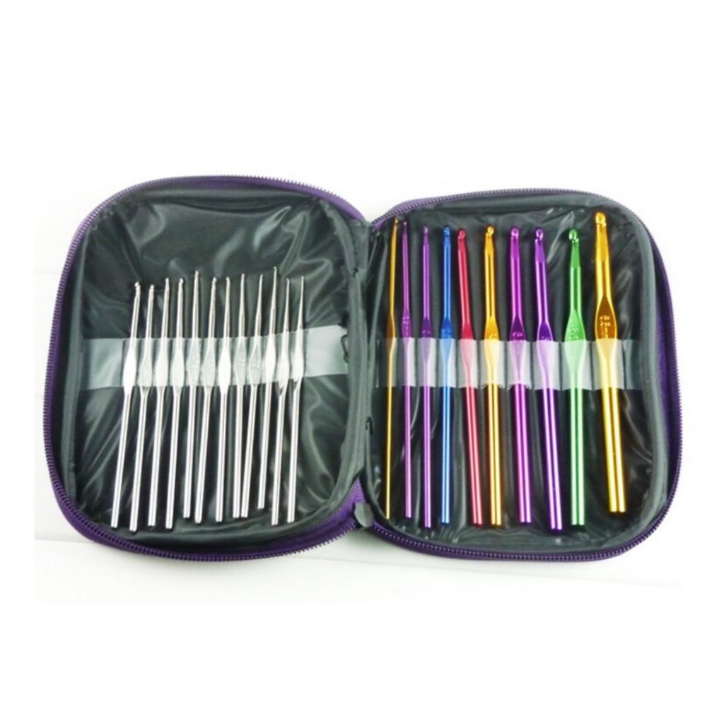 22Pcs Aluminium Häkeln Haken Nadeln Set Multi-farbe Stricken Weben Handwerk Garn Nähen Tools Häkeln Haken Stricken Nadeln