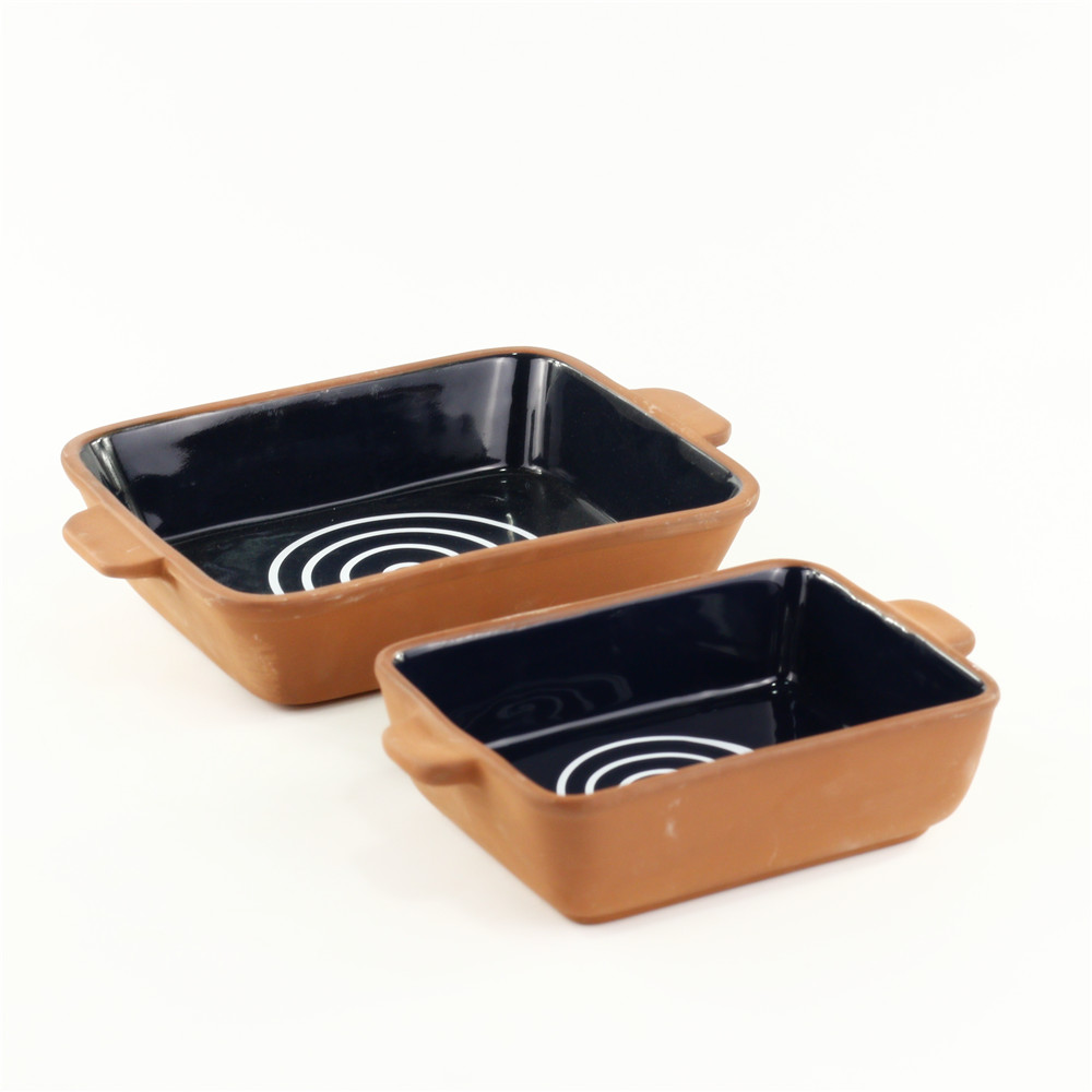 Creative microwave use tableware ceramic bakeware set with handle