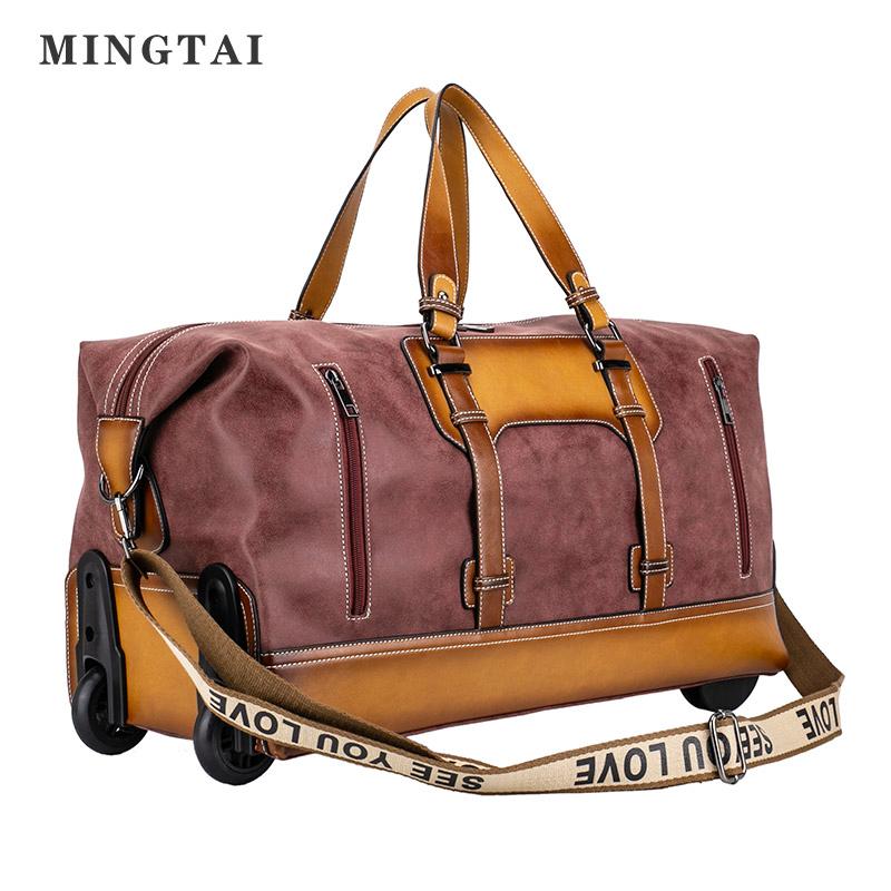Vintage 4 ruote su misura da viaggio di rotolamento dei bagagli borse di tela bagaglio filovia trolley borsa da viaggio della signora di sacchetto del carrello