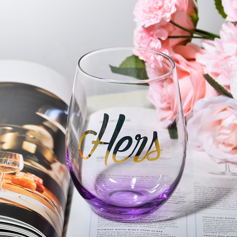 Samyo Premium Quality Handmade Colored Glassware Printing Logo Crystal Stemless Wine Tumbler <strong>Glass</strong>