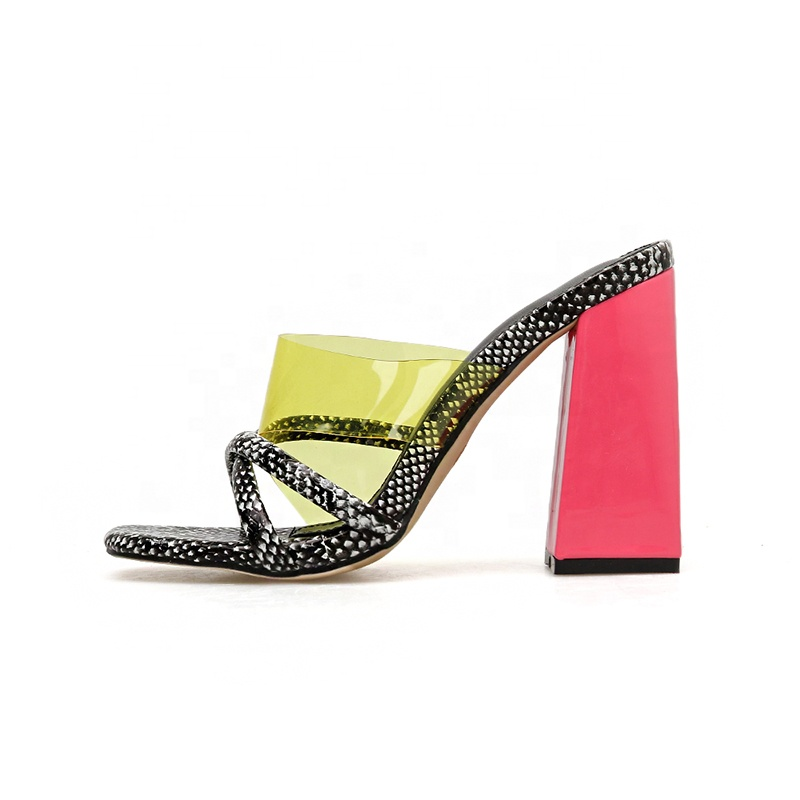 2020 arrive chunky <strong>heel</strong> snake print jelly slides women high <strong>heels</strong>