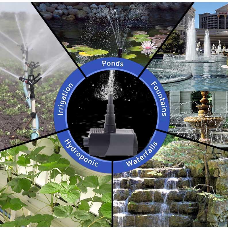 700L/H, 150GPH,Submersible Water Pump for Aquarium, Fish Tank, Pond, Garden, Hydroponics,Fountain,Waterfall, Statuary