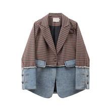 [DEAT] женский джинсовый комбинированный клетчатый Блейзер популярного цвета, новая свободная куртка с отворотом и длинным рукавом, модная де...(Китай)