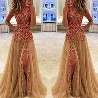 2020new hot on wish amazon ebay long evening dresses with flower embroidery factory direct