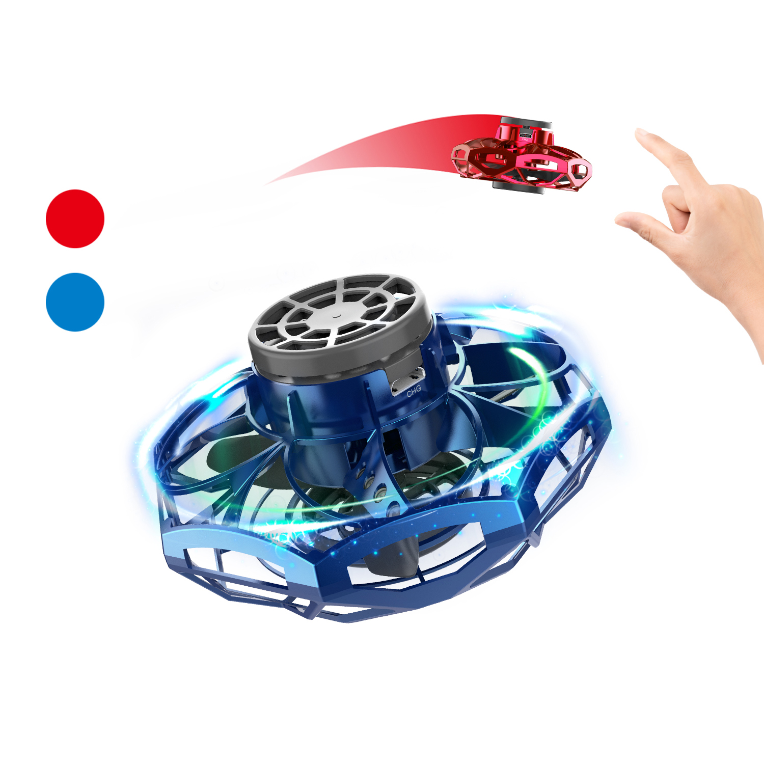 Mini Finger Drone Hand Operated Drone with RGB Light Flying Spinner for Kids