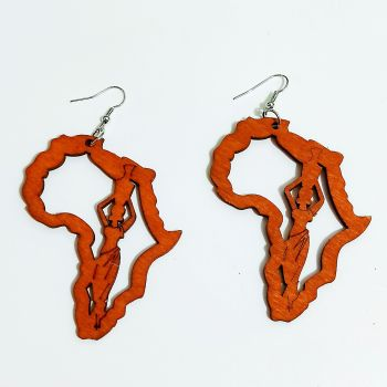 New Arrival Ethnic Jewelry Tribal Pattern Handmade Laser Engraved Wooden Earrings African Motherland Map Earring