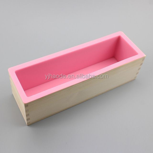 Amazon hot selling 42oz Flexible Rectangular Silicone soap molds Loaf with Wood Box DIY Tool  for Soap Cake Making