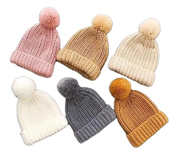 Wholesale Good Quality Winter Thick Pom Pom Slouchy Kids Baby Child Knitted Acrylic Beanie Hat
